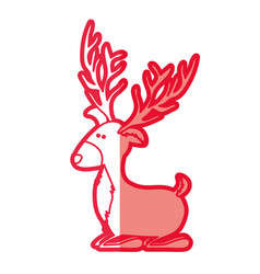 Red silhouette of funny reindeer lazy vector