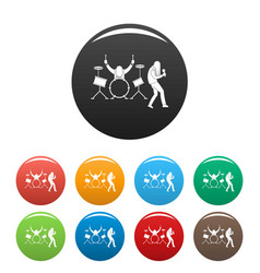 rock band icons set color vector image