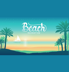 Romantic vacation on the beach at sunset vector
