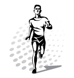 running man symbol outlined stylized silhouette vector image