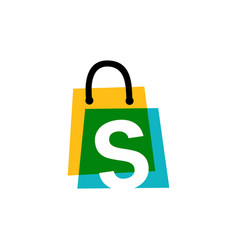 s letter shop store shopping bag overlapping vector image