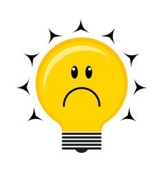 sad conceptual lightbulb icon vector image