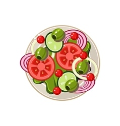 Salad of Sliced Vegetables Served Food vector