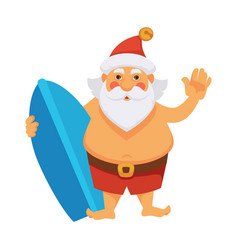 Santa summer vacations ocean surfboard daily vector
