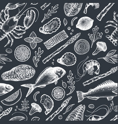 seafood and fish seamless pattern hand drawn on vector image