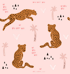 seamless pattern with hand drawn leopards vector image