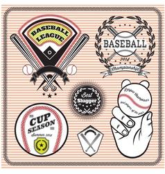set emblems and signs for baseball vector image
