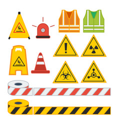 set of caution sign for safety equipment vest vector image