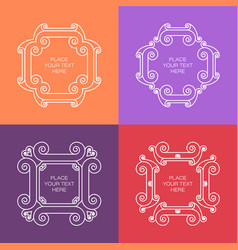 set of elegant white frame in trendy outline style vector image