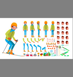 skiing male animated character creation vector image