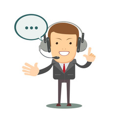 smiling male operator with headset speaking vector image