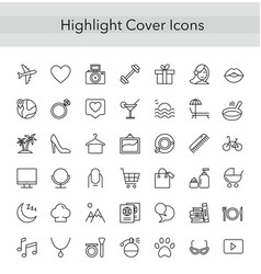 social media collection thin line icons for vector image