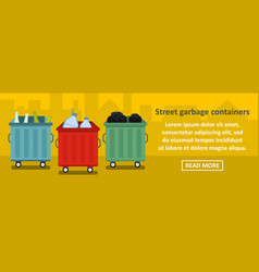 street garbage containers banner horizontal vector image