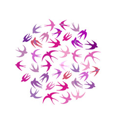 swallows circle frame for your design vector image