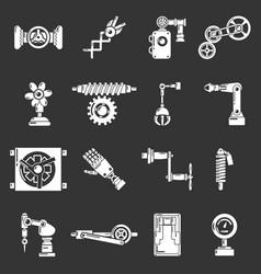 Technical mechanisms icons set grey vector