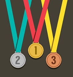 Three Golden Medals With Number vector