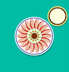 Top view peking duck and pancakes art vector