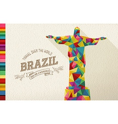 Travel Brazil landmark polygonal monument vector