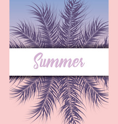 Tropical design with purple palm leaves vector
