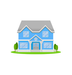 two-storey house with big entrance door and vector image