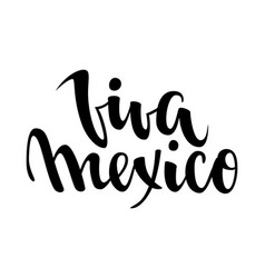 Viva mexico hand drawn lettering phrase isolated vector