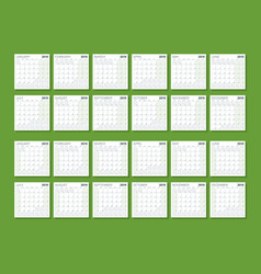 wall calendar template for 2019 year week starts vector image