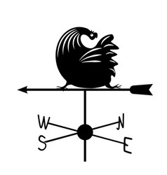weathervane - black running rooster2 vector image