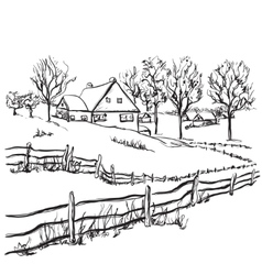 Winter background house in the snow landscape vector