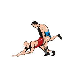 Wrestlers fighting retro vector