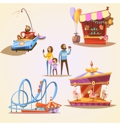 Amusement park cartoon set vector image vector image