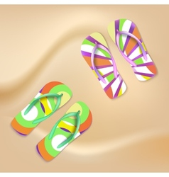 Colored beach slippers the sandy background vector image