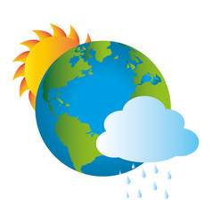 colorful earth world map with rainy cloud and sun vector image