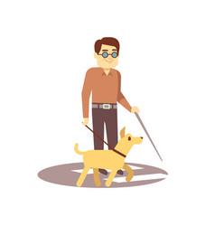 Dog companion and blind man on walk isolated on vector