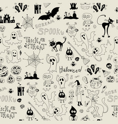 halloween seamless pattern with icons vector image