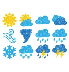 Weather doodle icons vector image vector image