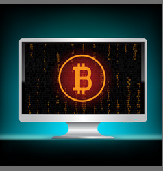 white monitor bitcoin mining code vector image vector image