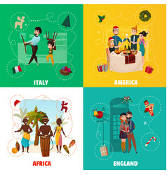 world christmas traditions concept vector image