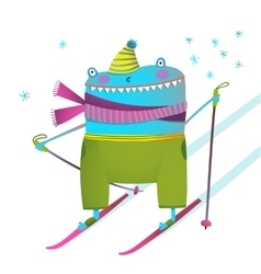 Freaky funny winter skier kids design cartoon vector image
