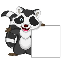 raccoon cartoon posing with blank sign vector image vector image