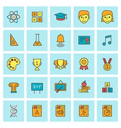 School and education icon set in flat design style vector image
