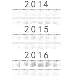 European 2014 2015 2016 calendars vector image vector image