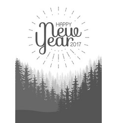 happy new year flyer wild coniferous forest vector image