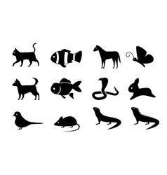 set of animal icons in silhouette style vector image