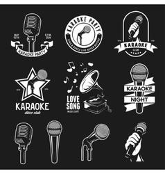 Set of karaoke related vintage labels badges and vector image vector image
