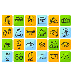 summer beach icons set in line thin and simply vector image vector image
