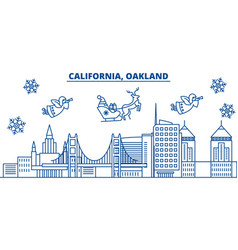 usa florida oakland winter city skyline merry vector image