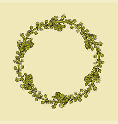 Vintage wreath of flowers on a beige background vector