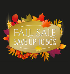 autumn sale poster flyer card template with vector image