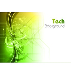 background line wave light tech green vector image vector image
