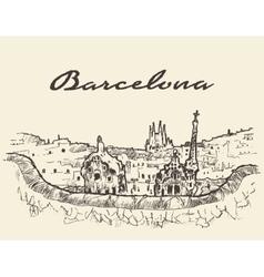 Barcelona Spain drawn sketch vector image vector image